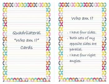 "Quadrilateral 'Who am I?"" Cards"