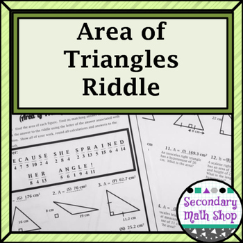 Area -  Area of Triangles Riddle Worksheet