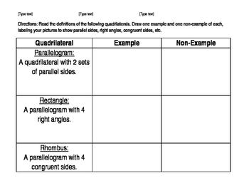Quadrilaterals/Geometry Diagnostic Interview - 4th-5th grade