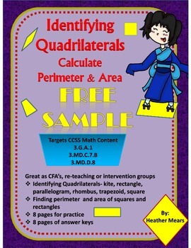 Quadrilaterals Identifying with Perimeter and Area Free Sample