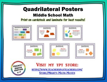 Quadrilaterals Posters - Middle School Math