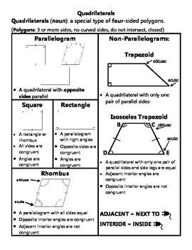 Quadrilaterals Practice with QR Codes
