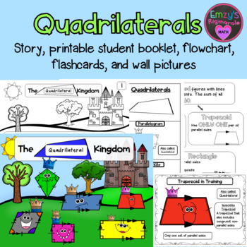 Quadrilaterals: Story, printable booklet, flashcards, grap