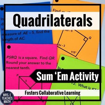 Quadrilaterals Sum Em Activity (Parallelograms, Trapezoids
