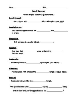 Quadrilaterals Test/ Notes /Handout /Review Sheet