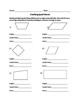 Quadrilaterals Worksheet