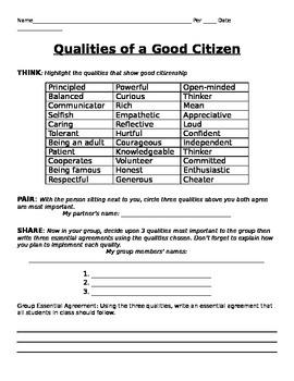 Qualities of a Good Citizen - Class rules