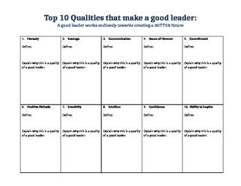 Qualities of a Good Leader - Essay Development