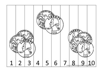 Quarter Coin 1-10 Number Sequence Puzzle. Financial educat