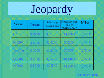 Quarter One Jeopardy Review