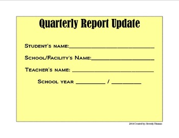 Quarterly Report Update Form for Young Children