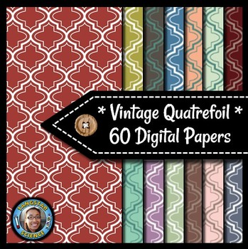 Quatrefoils - 60 Vintage Digital Papers {Commercial & Pers