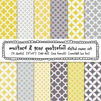 Quatrefoil Digital Backgrounds, Mustard and Gray Quatrefoi