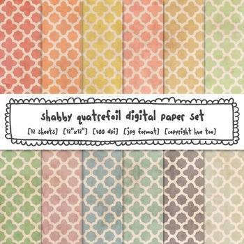 Quatrefoil Digital Paper Set, Shabby Pastel Colors Trellis
