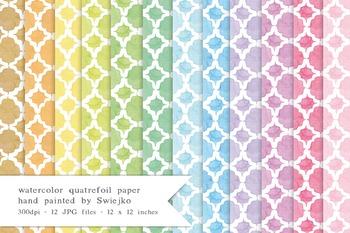 Quatrefoil Digital Paper, printable background, watercolor