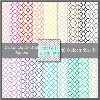 Quatrefoil Digital Scrapbook Paper- 12x12- Commercial Use