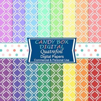 Rainbow Quatrefoil on White Digital Background Papers
