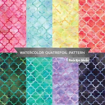 Quatrefoil Moroccan Tile Pattern Watercolor Backgrounds