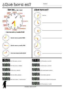 Qué hora es? (Telling time-worksheet in Spanish)