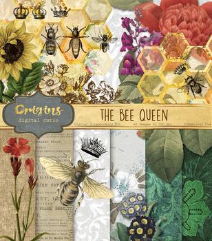 Queen Bee clipart clip art digital paper backgrounds digit