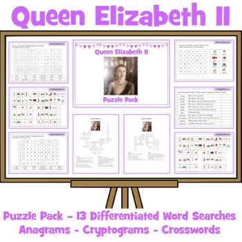 Queen Elizabeth Activity Pack - Crosswords, Anagrams, Word