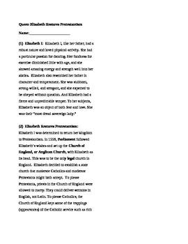 Queen Elizabeth I and Protestantism, Reformation, Workshee
