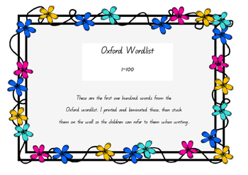 Queensland Beginner Font Oxford 100 Wordlist