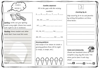Queensland Year 1 Homework Set for Unit 1 English and Maths
