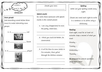 Queensland Year 4 Homework for Unit 5