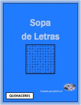 Quehaceres (Chores in Spanish) Wordsearch for differentiat
