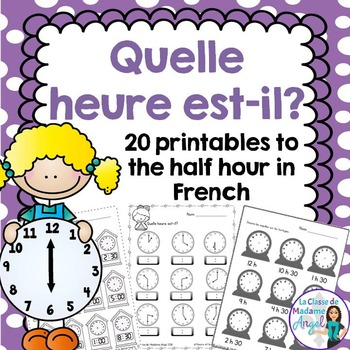L'heure:  French Telling Time Printables to the Hour and H