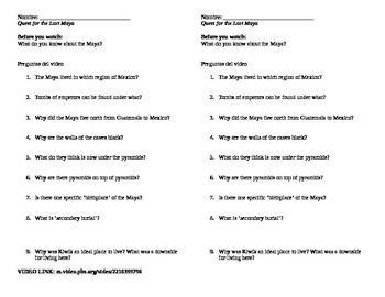 Quest for Lost Maya Video Worksheet