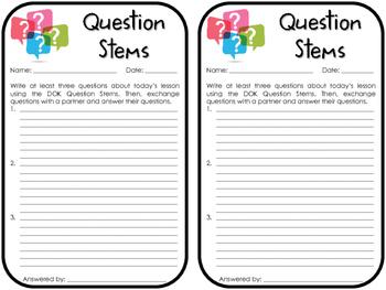 Question Stems Exit Slip