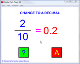 Question generator – fractions to decimals