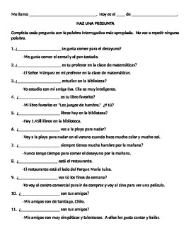 Question words - Spanish Interrogatives
