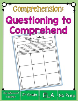 Questioning Before, During, and After Reading Printable