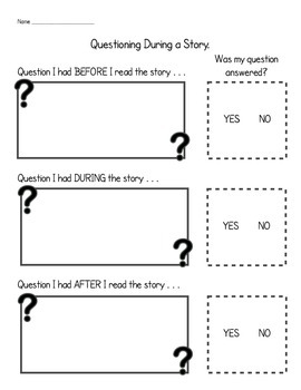 Questioning & Checking Comprehension Strategy Practice Sheet