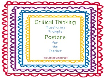 Questioning Prompt Posters: Bloom's Critical Thinking Prom