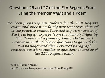 Questions 26 and 27 of the ELA Regents Exam using the memo