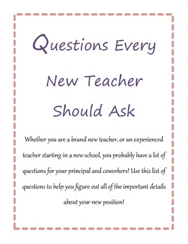 Questions New Teachers Should Ask Their Principals and Coteachers