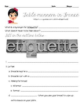 Questions for Comme une Française TABLE ETIQUETTE video