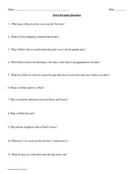 Questions for Hotel Rwanda
