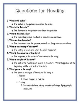 Reading Log Questions English
