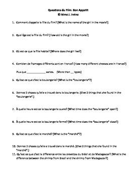 """Questions for Film """"Bon Appetit"""""""