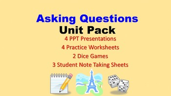 Questions in French Unit Pack: PPT Lessons, Worksheets, Di