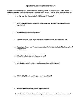 Questions to Accompany National Treasure