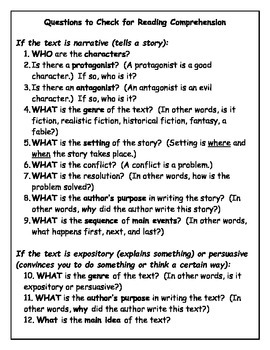 Questions to Check for Reading Comprehension