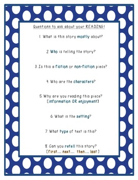 Questions to ask about your Reading!