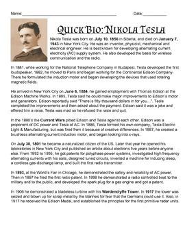 Quick Bio: Nikola Tesla