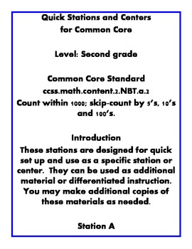 Quick Centers and Stations Second Grade Math Common Core P